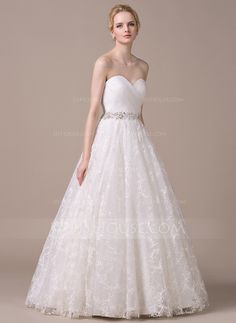 Ball-Gown Sweetheart Floor-Length Organza Lace Wedding Dress With Ruffle Beading Sequins (002058785)