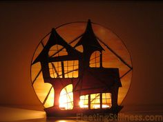 Halloween Stained Glass Candle Holder by FleetingStillness on Etsy, $139.00