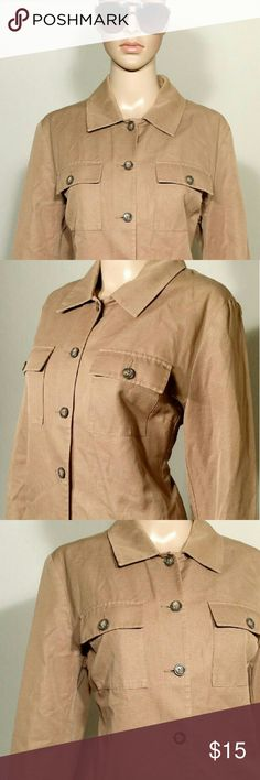 Banana Republic Womens Brown Button Jacket Size L LARGE - 54% Cotton 46% Linen In very good condition!! Very adorable!! A great gift!! Fast Shipping!! Banana Republic Jackets & Coats
