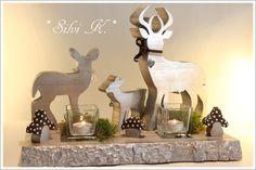 erhältlich hier:  http://de.dawanda.com/product/87690175-hirsch---familie---teelicht-in-silber-gold-optik Preis: 40,-€, Handarbeit, Teelicht, Hirsch, Reh, Kitz, Bambi, Holz, Teelicht, Herbst, Weihnachten, Fliegenpilz, Kristall, Glaskristall, Moos, Silvi K.,