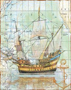 Vintage Art Print featuring the digital art Nautical Journey-a by Jean Plout Vintage Nautical, Vintage Maps, Antique Maps, Nautical Theme, Nautical Artwork, Vintage Canvas, Ancient Maps, Image St Valentin, Old Maps