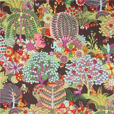 colorful grey Kokka fantasy forest fabric from Japan - Animal Fabric - Fabric - kawaii shop modeS4u