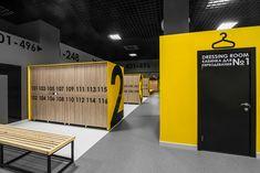 "Spa Waterpark ""Barionyx"" Kazan on Behance Gym Interior, Interior Exterior, Interior Design, Gym Design, Retail Design, Pool Changing Rooms, Mobile Shop Design, Office Lockers, Locker Designs"
