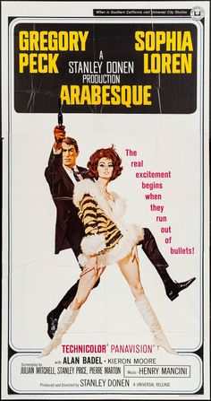 "Arabesque (Universal, 1966). Three Sheet (41"" X 78"") & Lobby Card (2) (11"" X 14""). Thriller. Starring Gregory Peck, Sophia Loren, Alan Badel, Kieron Moore, Carl Duering, John Merivale, Duncan Lamont, George Coulouris, Ernest Clark, and Harold Kasket. Directed by Stanley Donen."