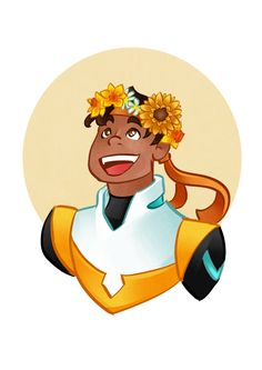 Voltron characters with flower crowns. Hunk.