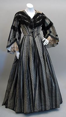 1860s Grey and Black Silk Dress with Pagoda Sleeves