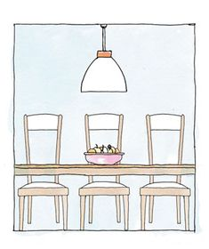 Dining-Room Chandelier    Go for a fixture one-half to three-quarters the width of the table; anything larger will cast shadows on faces. Hang the light 36 to 48 inches above the table. Choose the lower number for more intimacy, the higher one if you want to stand when toasting.