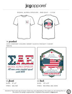 JCG Apparel : Custom Printed Apparel : Sigma Alpha Epsilon Bid Day T-Shirt #sigmaalphaepsilon #sae #bidday #rush #recruitment #america #starsandstripes #foundersday #murica