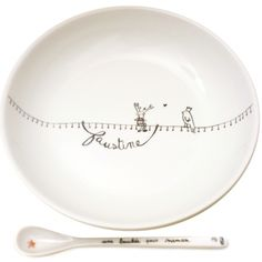 Assiette bébé personnalisée prénom en porcelaine motif Renne