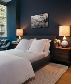 The beautiful and effective wall paint Petrol! - color-petrol-ambiente in-bedroom-modern-bed-and-two-bedded Lamp cozy- - Beautiful Bedrooms, Home Decor Bedroom, Dark Bedroom, Comfy Bedroom, Bedroom Images, Home Decor, Navy Blue Bedrooms, Dark Blue Bedrooms, Blue Bedroom