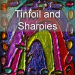 Faux stained glass art using cardboard, hot glue gun, tinfoil and sharpies