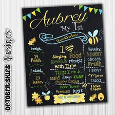 Bumble Bee Birthday Chalkboard Sign Poster by OctoberSkiesDesigns