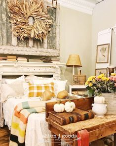 Fall is the season to create farmhouse cozy bedrooms with stimulating autumn colors and layers of texture. Serene Bedroom, Fall Bedroom, Cozy Bedroom, Beautiful Bedrooms, Accent Wall Colors, Wall Paint Colors, White Ruffle Bedding, Vinyl Panels, Yellow Quilts