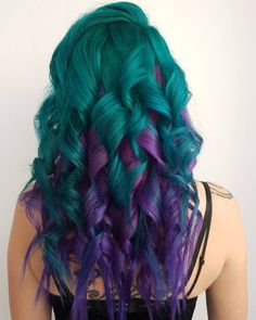 Loving these dark teal + purple curls by - try our Twilight Pack for a similar look! Bold Hair Color, Pretty Hair Color, Bright Hair Colors, Hair Dye Colors, Colorful Hair, Teal And Purple Hair, Pixie Haircut For Thick Hair, Pretty Hairstyles, Teen Hairstyles