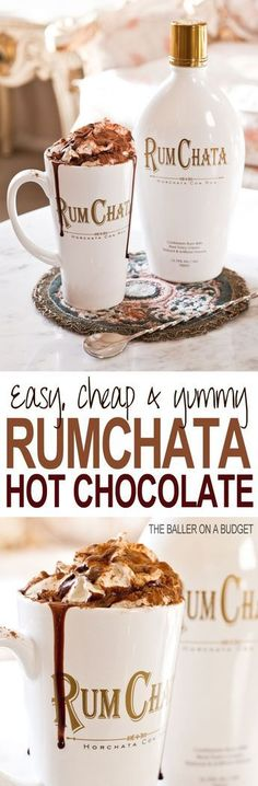 This Adult Hot Cocoa recipe is perfect for the holiday season: All you need is milk, hot cocoa mix, and Rumchata. Top with whipped cream and a chocolate sauce drizzle. Click through for the full recipe: THE BALLER ON A BUDGET