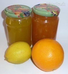 Cuketovo-pomarančový a cuketovo-citrónový džem - recept Salsa, Jar, Stuffed Peppers, Orange, Fruit, Vegetables, Food, Lemon, Syrup