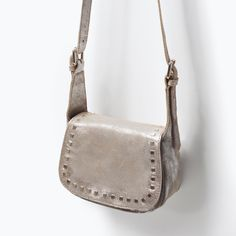STUDDED LEATHER MESSENGER BAG from Zara