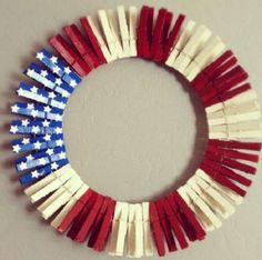 DIY Clothes Pin wreath for your forth of July