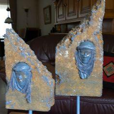 Tempex met gips kopje van man en vrouw berber. Inspiratie uit Marrokko