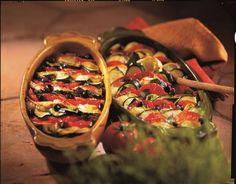 Tian de légumes au chèvre et olives noires