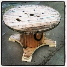 spool-table-i-like-this-idea-with-the-bottoms-cut-looks-much-better-than-just-leaving-the-bottom-circle-whole-you-could-then-paint-the-whole-thing-add-flowers-paint-coca-cola-on-it-or-whatever-then-us.jpg (287×287)