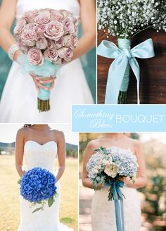 "8 ""Something Blue"" Wedding Ideas Just For You: Blue Bouquet Your bouquet is the perfect place to add blue, especially if blue is already part of your color scheme! Either wrap the stems in blue or tuck one small blue flower into your arrangement. Wedding Exits, Wedding Photos, Wedding Ideas, Gold Wedding, Wedding Flowers, Something Blue Wedding, Wedding Etiquette, Blue Bouquet, Blue Bridal"