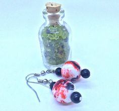 Beautiful red white and black dangle earrings by JewelerybyPat
