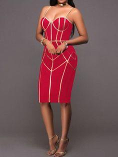 Spaghetti Strap Contrast Binding Bodycon Dress - Wear it Robe Bodycon, Velvet Bodycon Dress, Trend Fashion, Spaghetti Strap Dresses, Womens Fashion Online, Pattern Fashion, Beautiful Outfits, Ideias Fashion, Skirt Set