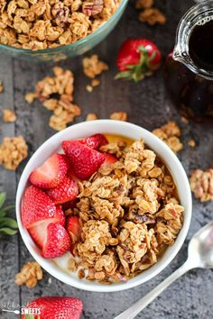 Maple Nut Granola - Lightly sweetened granola filled with almonds, walnuts, pecans and almond butter; flavored with pure maple syrup, cinnamon and a touch of orange zest. This hearty granola contains fiber and protein to keep you full and satisfied. #granola #oats #breakfast #maplesyrup #maple #almondbutter