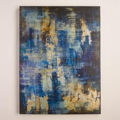 Liz Jardine's abstract piece is a breathtaking balance of cool and warm tones, painted in deep blues with metallic overlays of glittering gold leaf.