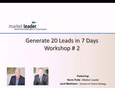 Million Dollar Pipeline Program Workshop #2 - Generate 20 Real Estate leads in 7 days - 1-21-13