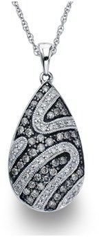 Ax Jewelry Diamond Pear Necklace In Sterling Silver (0.75 Carats, H-i I1 And Grey Diamonds).