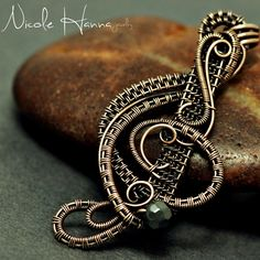 Bronze Wire Wrapped Treble Clef with Hematite from Nicole Hanna Jewelry on Storenvy