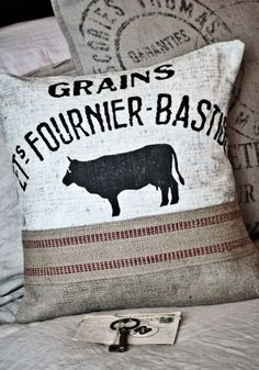 grain sack pillows- easy to make= drop cloth, printable, hem tape, stuffing.