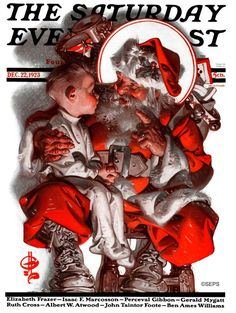 A gallery of Santa covers just for you by two of our most skilled illustrators — J.C. Leyendecker and Norman Rockwell. Norman Rockwell Christmas, Norman Rockwell Art, Christmas Images, Christmas Art, Vintage Christmas, Holiday Images, Christmas Scenes, The Saturdays, Christmas Tree Scent