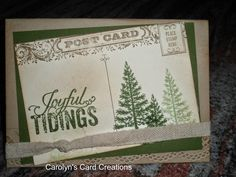 Carolyn's Card Creations: Joyful Tidings Post Card Stampin' Up!
