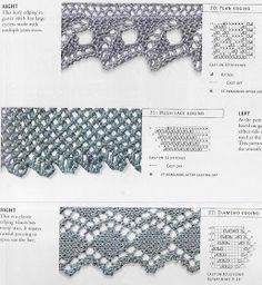 Dress with knitting needles. Discussion on LiveInternet - Russian Online Diaries Service Crochet Lace Edging, Crochet Borders, Knit Crochet, Lace Knitting Stitches, Knitting Charts, Knitting Needles, Stitch Patterns, Knitting Patterns, Crochet Patterns