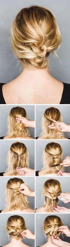 Peinados pelo corto: semi recogido nuca