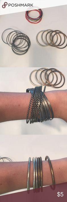3 bangle sets 3 fashion bangle sets. Set 1: silver metal Set 2: 3 bronze and 3 silver metallic Set 3: variety of thin colored bangles. All are NWOT. Jewelry Bracelets