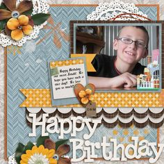 """Happy Birthday to our sweet Jonah! He's quite a boy, and we love him so much!! We pray he has a great day with his family!! I'm told he went around the house last night singing """"SUNRISE SUNSET"""" to his mom to make her cry!! Yup, that's our boy!! Growing up!!  I used TATTERED NOT TORN collection from Connie Prince. Kit can be found here: http://store.gingerscraps.net/Tattered-Not-Torn-Kit.html and template here: http://store.gingerscraps.net/Tattered-Not-Torn-12x12-Templates-CU-Ok.html"""