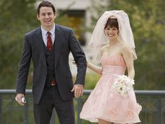 """The Vow"" Once again, Rachel McAdams ditches the typical white wedding dress. This time her character wears a mini pink wedding dress with matching veil and Channing Tatum looks so good in pink. Rachel Mcadams, Movie Wedding Dresses, Wedding Movies, Channing Tatum, Iconic Movies, Wedding Gallery, Corsage, Wedding Ceremony, Wedding Scene"