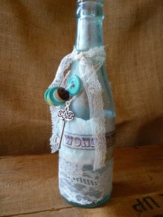 Vintage Blue Glass Bottle Decorated with by ofLaceandLove on Etsy, $10.00