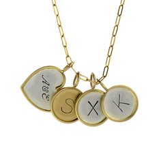 Metal Pressions | Jewelry Design | Handstamped Initial Charms with 14K Gold Rims - An everyday family Necklace #goldrimmed #personalizedjewelry #etsylisting #myetsyshop