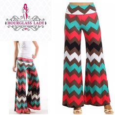 "Plus 2X Colorful Chevron Palazzo Wide Leg Pants PERFECT FOR SPRING! Plus 2X Colorful Chevron Palazzo Wide Leg Pants Gorgeous bright colors of coral, teal,brown, white & black (the pic with the brighter colors is actually colors) Wear high waisted or fold over New, no tags  Size 2X Waist 17"" across (unstretched), 32"" Inseam 95% rayon, 5% spandex, very stretchy  ‼️PRICE FIRM UNLESS BUNDLED‼️ Create a bundle for 15% off! Thanks for looking✌️❌NO PAYPAL❌NO TRADES❌ Hourglass Lady Pants Wide Leg"