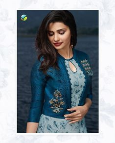 Unique Blue Color Satin And Georgette Printed Kurti Printed Kurti Designs, Simple Kurti Designs, New Kurti Designs, Churidar Designs, Kurta Designs Women, Kurti Designs Party Wear, Sleeves Designs For Dresses, Dress Neck Designs, Sleeve Designs For Kurtis