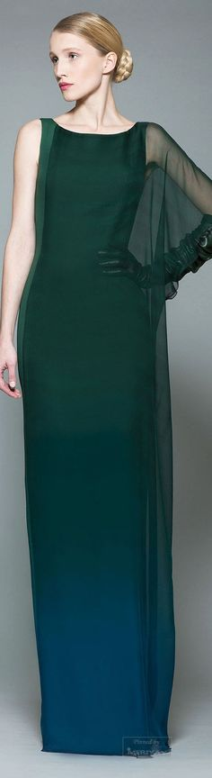 Georges Chakra Fall-winter 2015-2016. women's fashion and style. sleek gown. green