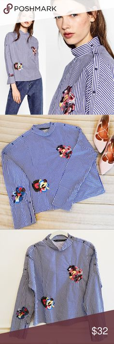 Zara Floral Embroidered Striped Long Sleeve Shirt Zara floral embroidered striped shirt. Trafaluc collection. Long sleeves. Like new condition, NWOT! Buttons down the shoulders. Size medium. Zara Tops Blouses