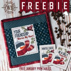 FREEBIE January Printable by The Wooden Bear. Use to make a mug mat, or one of the other free projects included with this series. Printable Fabric, Printable Stickers, Christmas Sewing, Christmas Crafts, Electric Quilt, Cross Stitch Freebies, Small Sewing Projects, Mini Quilts, Table Toppers