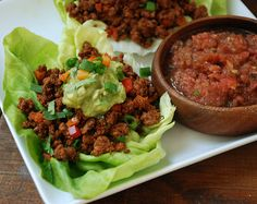 Taco Veggie Lettuce Cups - 100% grass-fed beef; bell pepper; green onion; Taco Seasoning (chili powder, ground cumin, paprika, onion powder, garlic powder, oregano, red pepper flakes); Lettuce Leaves; Fresh Guacamole and Salsa; Cilantro, green onion, and bell pepper for garnishing (optional)  - Strict Candida Diet