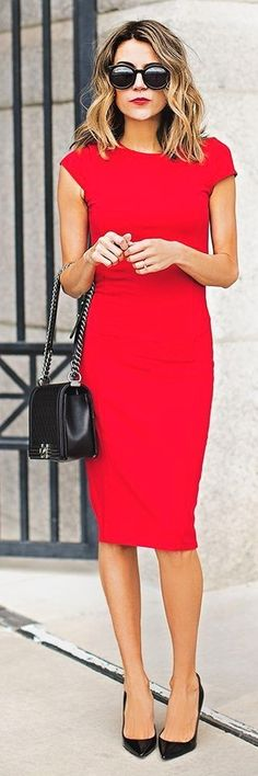 Women's Red Bodycon Dress, Black Leather Pumps, Black Quilted Leather Crossbody Bag, Black Sunglasses